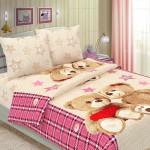 Влюбленные мишки, розовый 50х70